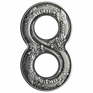 Australia 2018 - $2 Dollars Figure Eight Dragon 2018 2oz Silver Antiqued Coin