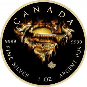 CANADA Maple Leaf 2016 5$ dollars SUPERMAN FIRE 1 Oz Silver Coin