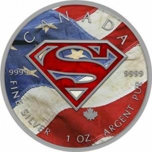 CANADA Maple Leaf 2016 5$ dollars SUPERMAN AMERICAN FLAG 1 Oz Silver Coin
