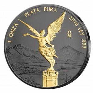 Mexico Libertad 1oz 2018 Black ruthenium 1 Dollar 999 Silver coin 24KT Gold