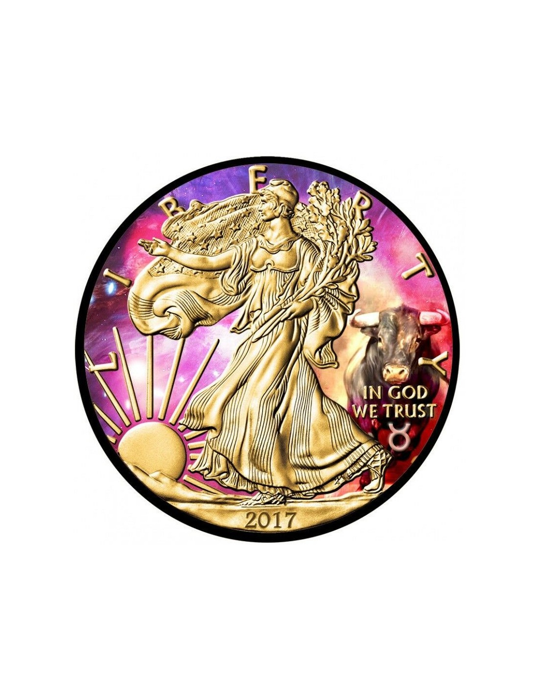 Gold and Ruthenium gilded American Silver Eagle Coin Zodiac Aries Colorized
