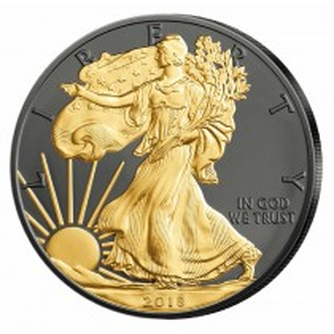 USA Silver Eagle 1oz 2018 Black ruthenium 1 Dollar 999 Silver coin 24KT Gold