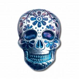 2 oz Hand-Poured Silver Sugar Skull - Day of the Dead : Marigold