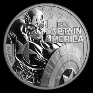 TUVALU $1 Dollar 2019 MARVEL Captain America Hero Perth Mint 1 oz silver coin