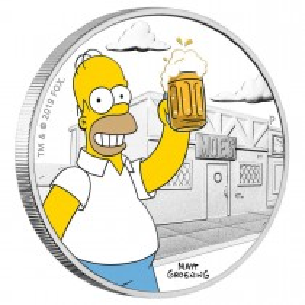 TUVALU $1 Dollar 2019 Homer Simpson ™ 1 Oz silver coin