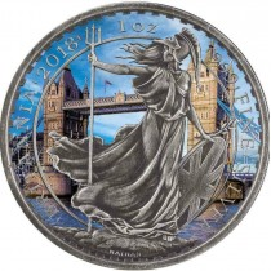 BRITANNIA AROUND THE WORLD : TOWER BRIDGE 2£ UK 2018 1 oz silver coin antique finish