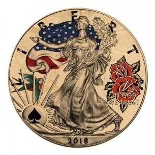TATTOO FORTUNE USA 2018 1$ Liberty Silver Eagle 1 Oz Silver Coin