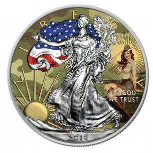 PIN UP TANK FORCE USA 2018 1$ Liberty Silver Eagle 1 Oz Silver Coin