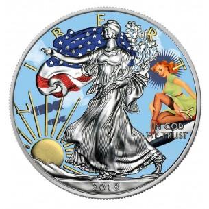 PIN UP SILENT SKY USA 2018 1$ Liberty Silver Eagle 1 Oz Silver Coin