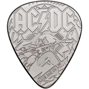 PLUG ME IN AC/DC Plectrum Guitar Pick 1/4 Oz Silver Coin 2$ Cook Islands 2019