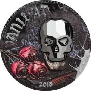 Equatorial Guinea 2018 1000 Francs Crystal Skull Vanity Vanidad 1oz Silver Coin