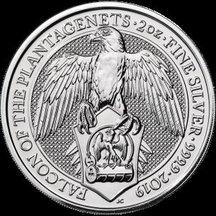 United Kingdom 5 Pound 2019 - 2 oz Queen's Beast - FALCON FAUCON Silver coin UK