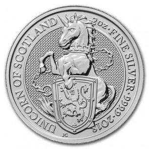 United Kingdom 5 Pound 2018 - 2 oz Queen's Beast - UNICORN Silver coin UK